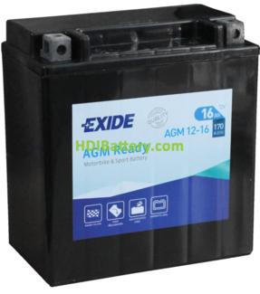 Batería para moto Exide AGM12-16 12 Voltios 16 Amperios