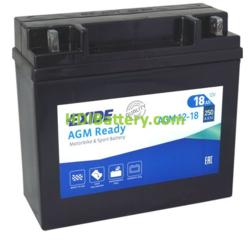 Batería para moto Exide AGM12-18 12 Voltios 18 Amperios
