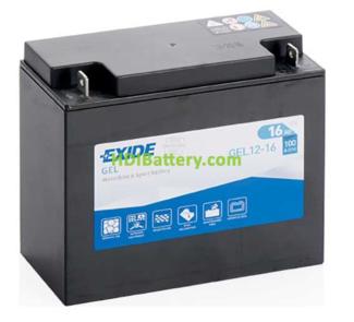 Batería para moto Exide GEL12-16 12 Voltios 16 Amperios