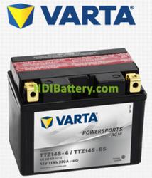 Bateria para moto Varta 12v 11ah 230A AGM PowerSports TTZ14S-4 , TTZ14S-BS , 511 902 023 150 x 87 x 110 mm