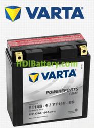 Bateria para moto Varta 12v 13ah 190A AGM PowerSports YT14B-4 , YT14B-BS , 512 903 013 152 x 70 x 150 mm