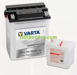 Bateria para moto Varta 12v 14ah 190A PowerSports Freshpack 12N14-3A/YB14L-A2 136 x 91 x 166 mm
