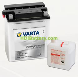 Bateria para moto Varta 12v 14ah 190A PowerSports Freshpack YB14-A2 136 x 91 x 166 mm