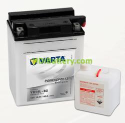 Bateria para moto Varta 12v 14ah 190A PowerSports Freshpack YB14L-B2 136 x 91 x 166 mm