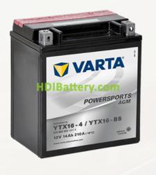 Bateria para moto Varta 12v 14ah 210A PowerSports AGM YTX16-4/YTX16-BS 150 x 87 x 161 mm