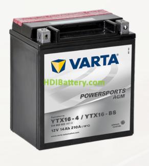 Bateria para moto Varta 12v 14ah 210A PowerSports AGM YTX16-4-YTX16-BS 150 x 87 x 161 mm
