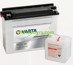 Bateria para moto Varta 12v 16ah 180A PowerSports Freshpack YB16AL-A2 205 x 72 x 164 mm