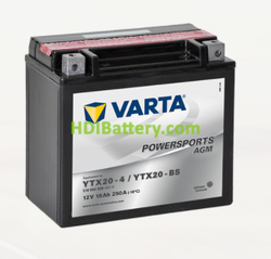 Bateria para moto Varta 12v 18ah 250A PowerSports AGM YTX20-4/YTX20-BS  177 x 88 x 156 mm