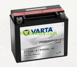 Bateria para moto Varta 12v 18ah 250A PowerSports AGM YTX20L-4/YTX20L-BS 177 x 88 x 156 mm
