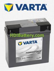 Bateria para moto Varta 12v 19ah 170A Gel PowerSports 519 901 017 186 x 82 x 173 mm