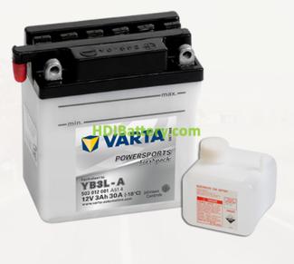 Bateria para moto Varta 12v 3ah 30A PowerSports Freshpack YB3L-A 100 x 58 x 112 mm