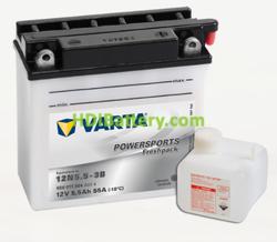 Bateria para moto Varta 12v 5,5ah 55A PowerSports Freshpack 12N5.5-3B 136 x 61 x 131 mm
