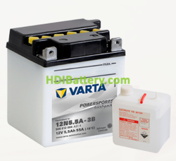 Bateria para moto Varta 12v 5,5ah 58A PowerSports Freshpack 12N5.5A-3B 103 x 90 x 114 mm