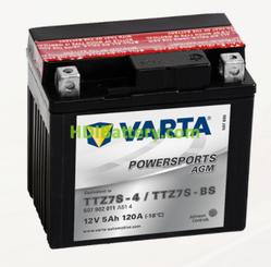 Bateria para moto Varta 12v 5ah 120A PowerSports AGM TTZ7S-4/TTZ7S-BS 113 x 70 x 105 mm