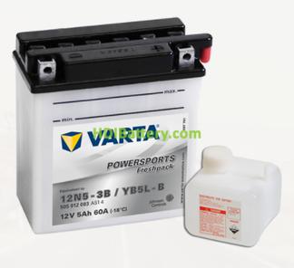Bateria para moto Varta 12v 5ah 60A PowerSports Freshpack 12N5-3B-YB5L-B 121 x 61 x 131 mm