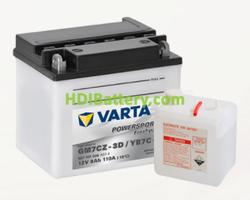 Bateria para moto Varta 12v 8ah 110A PowerSports Freshpack GM7CZ-3D/YB7C-A 132 x 92 x 116 mm