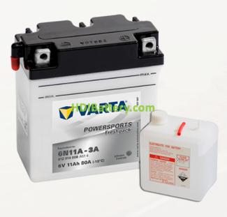 Bateria para moto Varta 6v 11ah 80A PowerSports Freshpack 6N11A-3A 122 x 61 x 135 mm