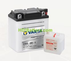 Bateria para moto Varta 6v 6ah 30A PowerSports Freshpack 6N6-3B-1 100 x 57 x 110 mm