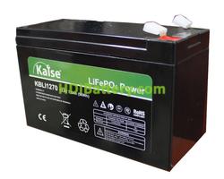 Batería para scooter eléctrica LiFePO4 12.8 Voltios 7 Amperios Kaise KBLI1270 151x65x99 mm