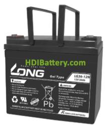 Batería para silla de ruedas 12V 36Ah Long LG36-12N