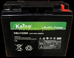 Batería para silla de ruedas LiFePO4 12.8 Voltios 20 Amperios Kaise KBLI12200 181.5x77x167.5 mm