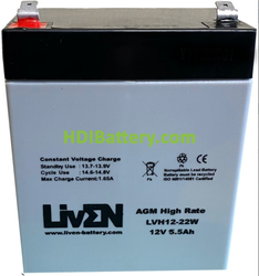 Batería Plomo AGM 12 Voltios 5,5 Amperios LVH12-22W