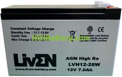 Batería Plomo AGM 12 Voltios 7 Amperios LVH12-28W