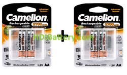 Batería recargable cilíndrica NI-MH CAMELION AA/R06 2700mAh (4unid)