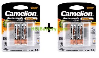 Batería recargable cilíndrica NI-MH CAMELION AA-R06 2700mAh (4unid)