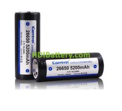 Batería recargable Keeppower 26650 Li-Ion 3,7 Voltios 5200mAh (protected) - 12A