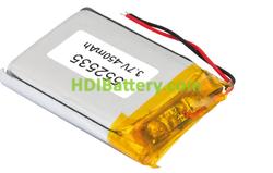 Batería recargable Li-Polímero 552535PL 3,7V 450mAh 25,0x35,0x5,5mm