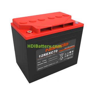 Batería solar de Plomo - Carbón 12 Voltios 70 Amperios Narada 12REXC70