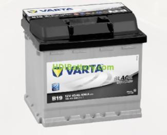 Batería Varta 12 voltios 45 ah 400A Black Dynamic ref. B19 207 x 175 x 190 mm