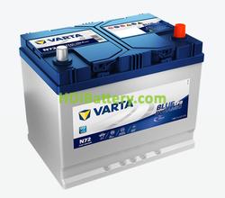 Batería Varta 12 voltios 72 Amperios 760A Blue Dynamic EFB Ref. N72 261 x 175 x 220 mm