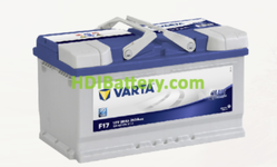 Batería Varta 12 voltios 80 ah 740A Blue Dynamic ref. F17 315 x 175 x 175 mm
