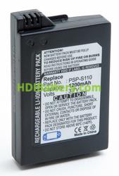 Batería vídeo consola 3.7V 1200mAh Sony PSP-2000, PSP-S110