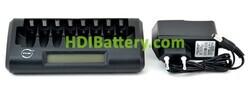 Cargador de batería rápido NX LCD para 8 AA y AAA
