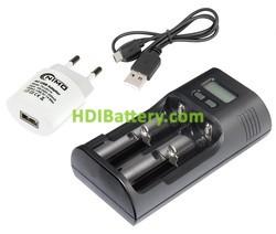 Cargador de baterías cilíndricas de Ion-Litio/NI-MH
