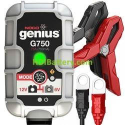 Cargador baterías de plomo inteligente 12v/6v 0.750mah Noco genius G750