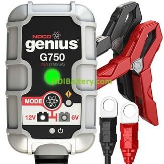 Cargador baterías de plomo inteligente 12v-6v 0.750mah Noco genius G750