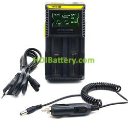 Cargador Nitecore para 2 baterías de Li-Ion, LiFePO4, NiMH 18650, 14500, 16340, 26650