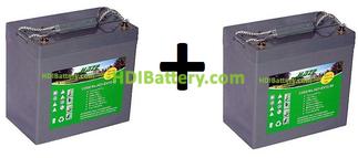 Conjunto 2 baterías de Gel 12 Voltios 55 Amperios HZY-EV12-55 HAZE