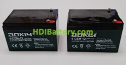 Conjunto 2 baterías AGM 24 Voltios 12 Amperios Aokly Power 151x99x98 mm 6-DZM-12