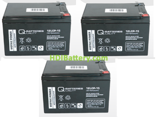 Conjunto 3 baterías AGM 12V 15Ah 151x98x99 mm