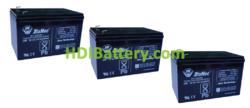 Conjunto 3 baterías AGM 36 Voltios 12 Amperios DiaMec DM12-12 151x99x95 mm
