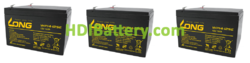 Conjunto 3 baterías AGM 36 Voltios 14 Amperios Long 151x98x100 mm