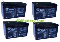 Conjunto 4 baterías AGM 12 Voltios 12 Amperios DiaMec DM12-12 (151 x 99 x 95 mm)