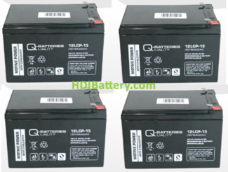 Conjunto 4 baterías AGM 12V 15Ah 151x98x99 mm