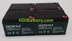 Conjunto 4 baterías AGM 48 Voltios 12 Amperios Aokly Power 151x99x98 mm 6-DZM-12