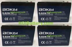 Conjunto 4 baterías AGM 48 Voltios 14 Amperios Aokly Power 151x99x98 mm